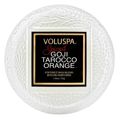 Macaron Glass Candle in Spiced Goji Tarocco Orange by Voluspa