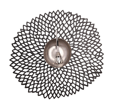 Dahlia Floral Table Mat in Black design by Chilewich
