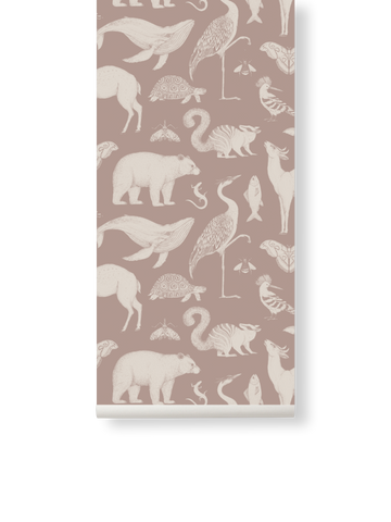 Katie Scott Wallpaper in Animal Dusty Rose by Ferm Living