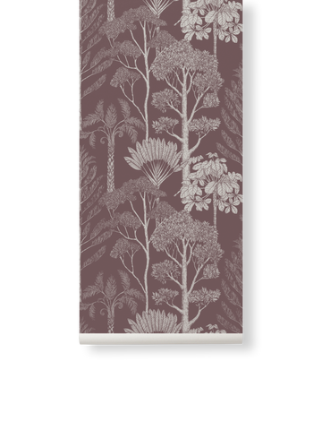 Katie Scott Wallpaper in Trees Mahogany by Ferm Living