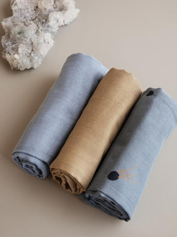 Muslin Squares (Set of 3) in Moon by Ferm Living