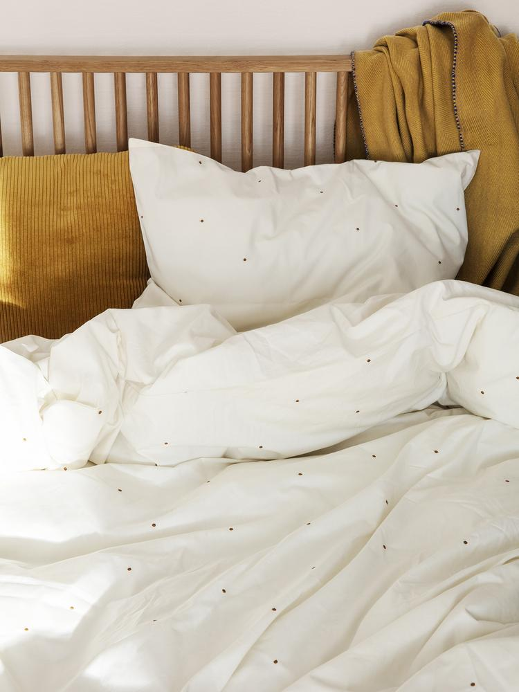 Dot Embroidery Bedding in Off-White by Ferm Living