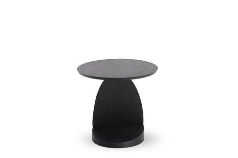 Teak Oblic Black Side Table - Varnished