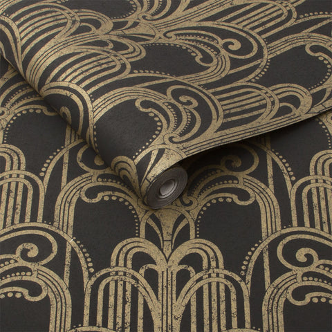Art Deco Wallpaper in Black & Gold from the Exclusives Collection by Graham & Brown