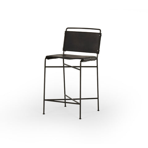 Wharton Counter Stool in Distressed Black
