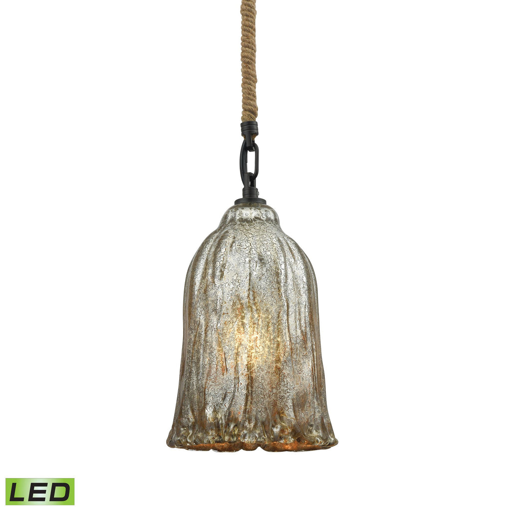 Hand Formed Glass 1-Light 11 x 6 x 6 Mini Pendant in Oiled Bronze with Mercury Glass - Includes LED Bulb by BD Fine Lighting
