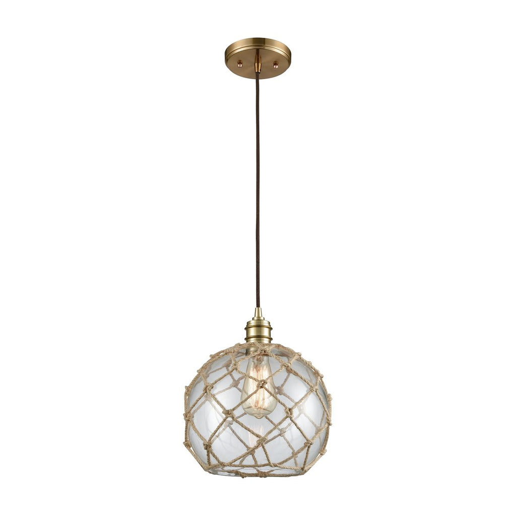 Dragnet 1 Pendant in Satin Brass