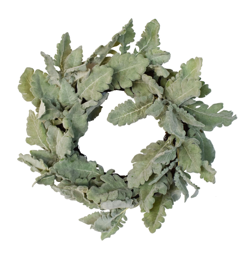 Dusty Miller Wreath in Green 14""