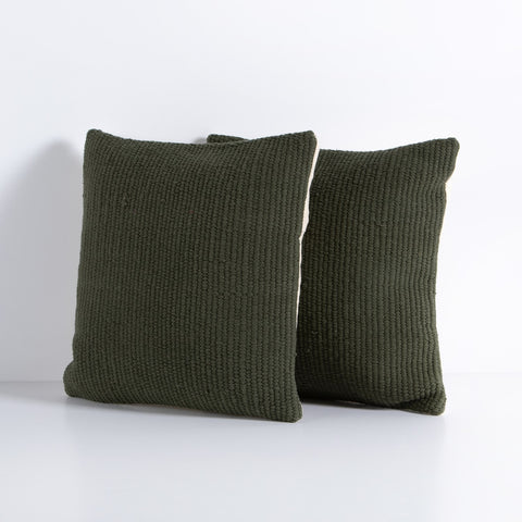 Cello Woven Rope Pillow Set in Dark Green by BD Studio