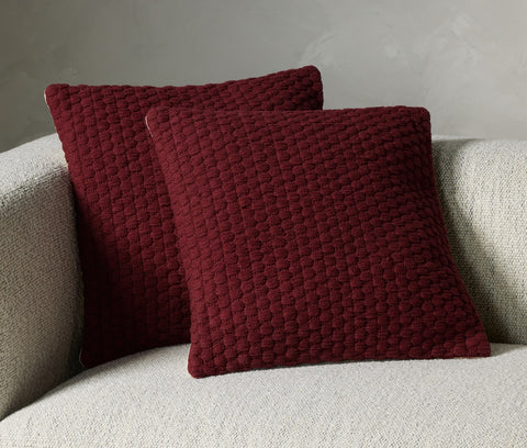 Cello Woven Rope Pillow Set in Claret by BD Studio