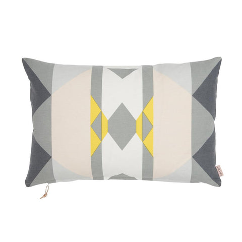 Boho Cushion in Grey & Yellow