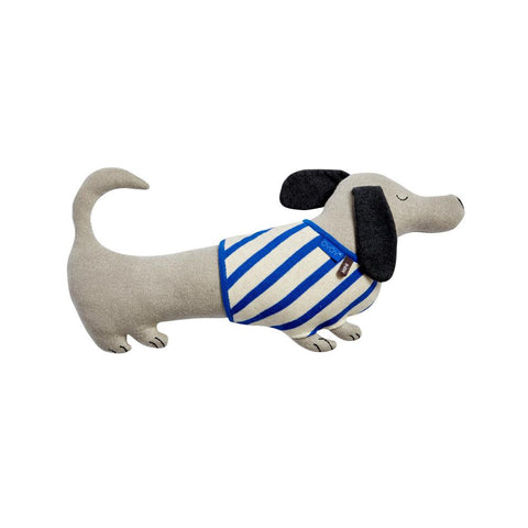 Slinkii Dog Cushion - Beige / Dark Blue