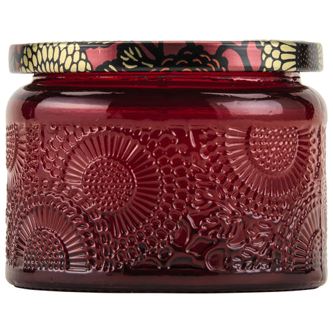 Petite Embossed Glass Jar Candle in Goji Tarocco Orange design by Voluspa