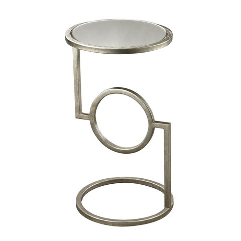 Hurricane Side Table in Silver Leaf design by Lazy Susan