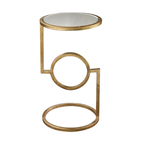 Hurricane Side Table in Gold Leaf design by Lazy Susan