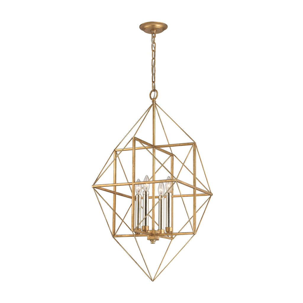 Connexions 4 Light Pendant In Antique Gold & Silver Leaf design by BD Fine