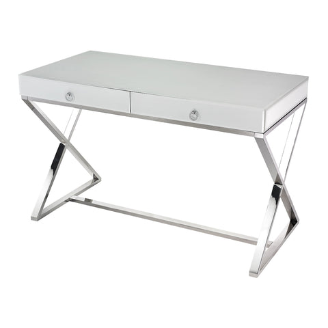 Super White Glass 2-Drawer Desk by Burke Decor Home