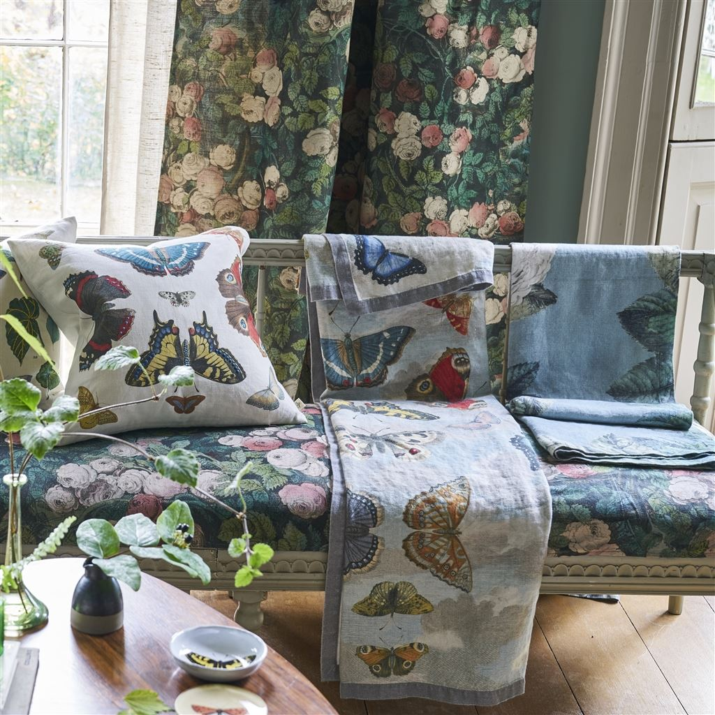 Mirrored Butterflies Sky Throw design by John Derian for Designers Guild