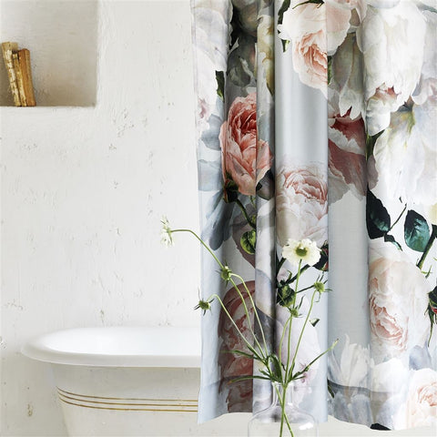 Peonia Grande Zinc Shower Curtain design by Designers Guild