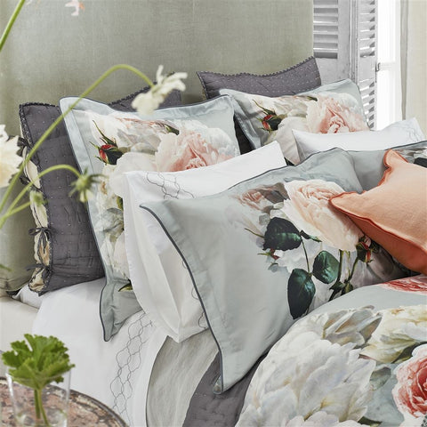 Peonia Grande Zinc Shams design by Designers Guild