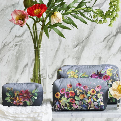 Indian Sunflower Graphite Large Toiletry Bag by Designers Guild