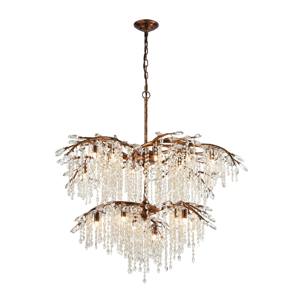 Elia 18-Light Chandelier in Spanish Bronze with Clear Crystal by BD Fine Lighting