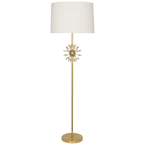 Andromeda Floor Lamp in Modern Brass Finish w/ Clear Acrylic Accents by Robert Abbey