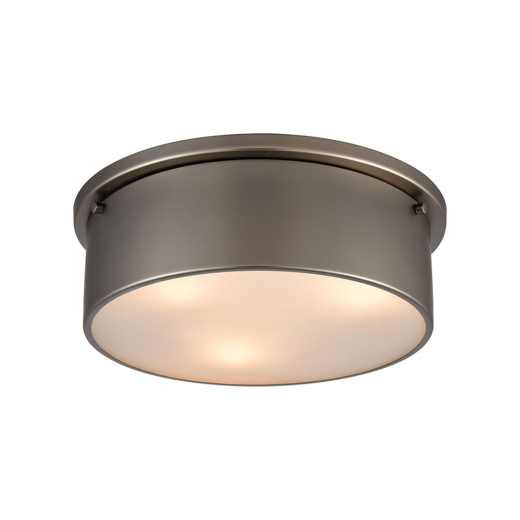 3-Light Flush Mount in Black Nickel with Frosted Glass by BD Fine Lighting