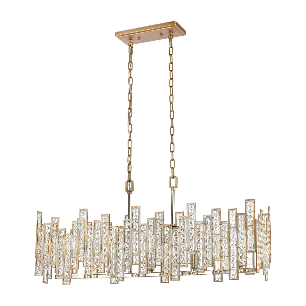 Equilibrium 5-Light Linear Chandelier in Matte Gold with Clear Crystal by BD Fine Lighting