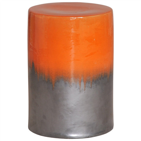 Garden Stool in Two-Tone Burnt Orange Glaze design by Emissary