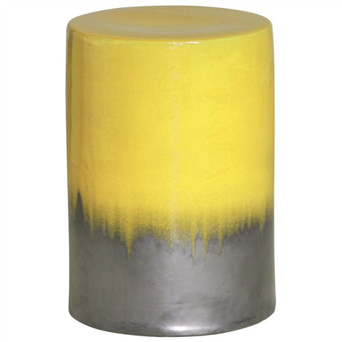 Garden Stool in Two-Tone Mustard Yellow Glaze design by Emissary