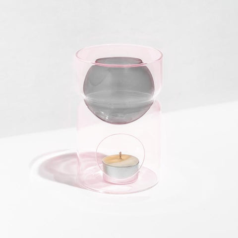 OIL BURNER + TEA LIGHT CANDLE - GREY | PINK