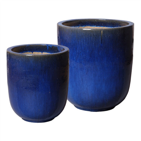 Set of Two Large Round Pots in Blue design by Emissary