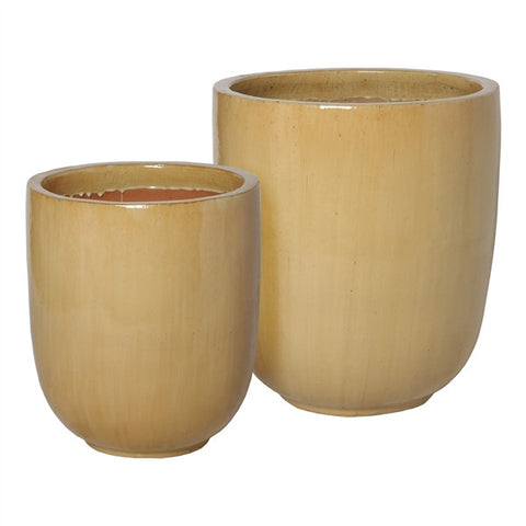 Set of Two Large Round Pots in Cappuccino