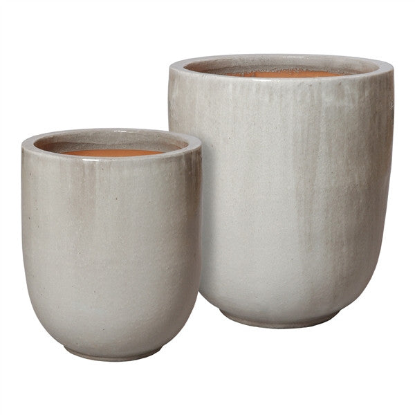 Set of Two Large Round Pots in Grey design by Emissary