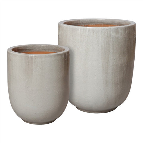 Set of Two Large Round Pots in Grey