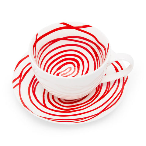 Louise Bourgeois Spirals Teacup & Saucer in Red