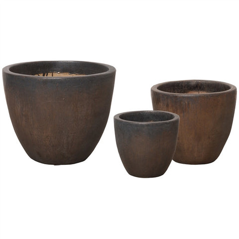 Set of Three Round Pots in Gunmetal design by Emissary