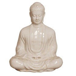 Meditating Buddha Statue in White design by Emissary