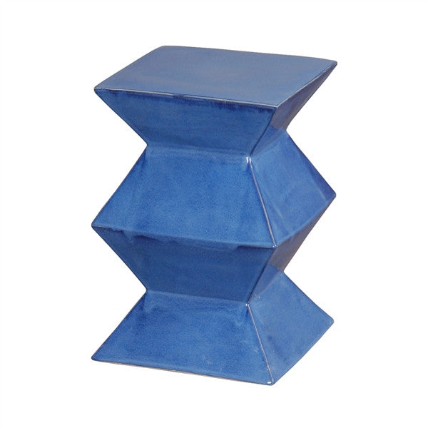Zigzag Garden Stool in Blue design by Emissary