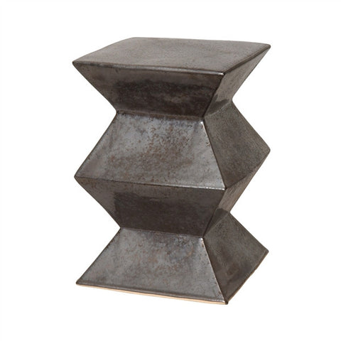 Zigzag Garden Stool in Gunmetal design by Emissary