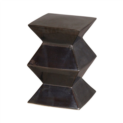 Zigzag Garden Stool in Metallic Black design by Emissary