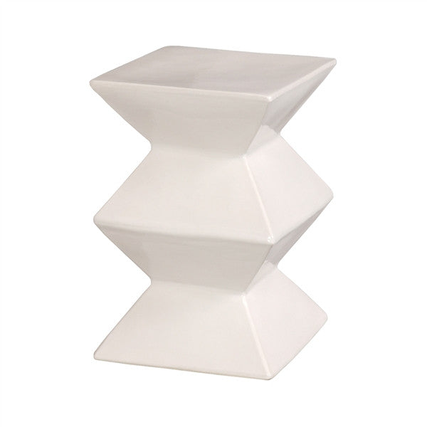 Zigzag Garden Stool in White design by Emissary