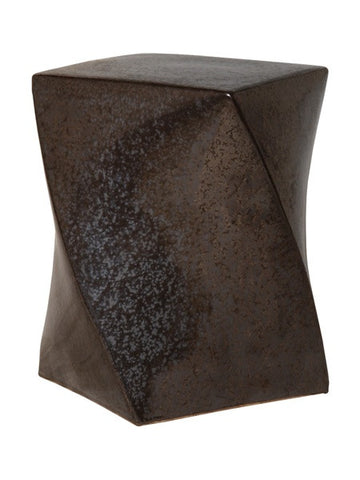 Twist Garden Stool in Gunmetal design by Emissary