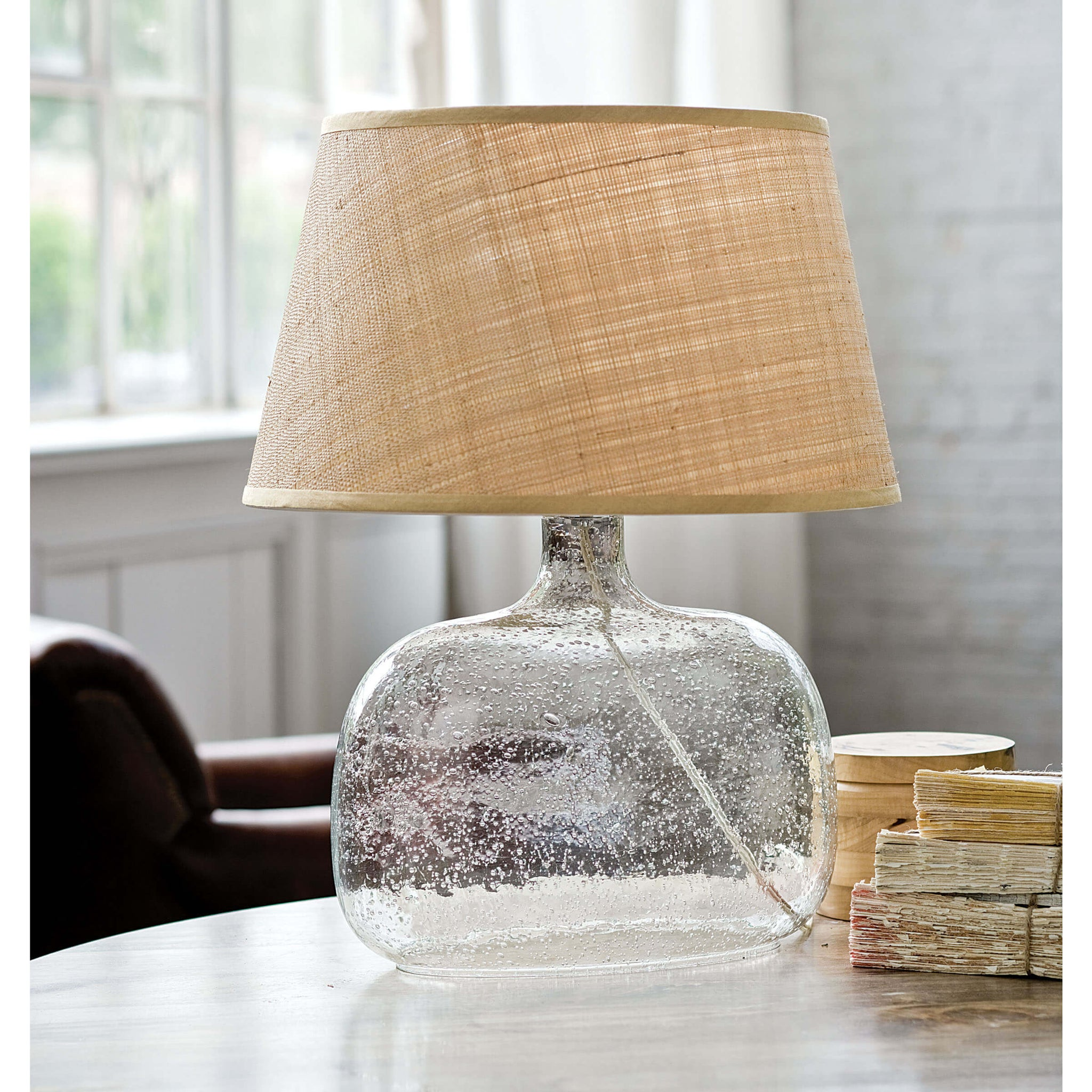 Seeded Oval Glass Table Lamp Burke Decor