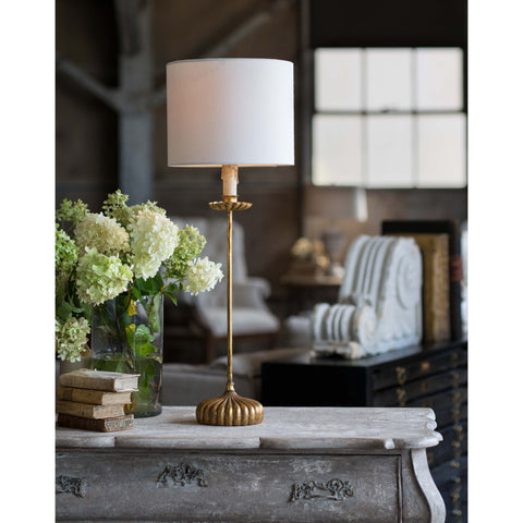 Clove Stem Buffet Table Lamp w/ Natural Linen Shade design by Regina Andrew