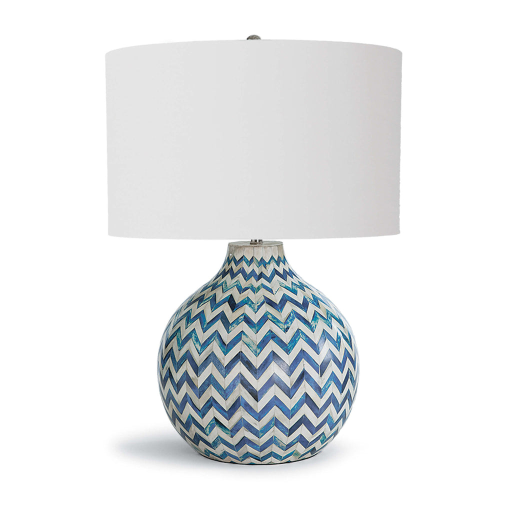 Chevron Bone Table Lamp in Indigo design by Regina Andrew