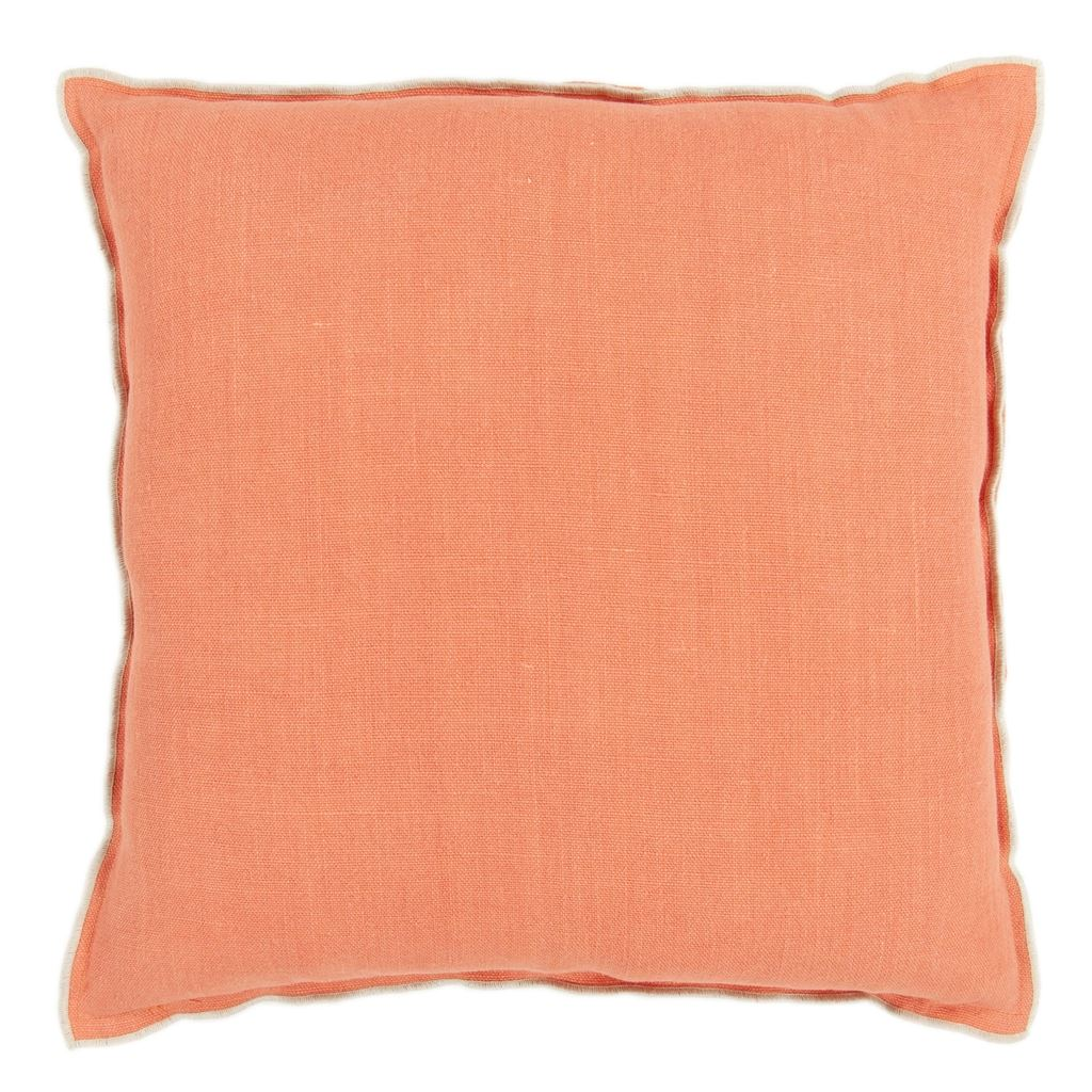 Brera Lino Coral & Putty Decorative Pillow