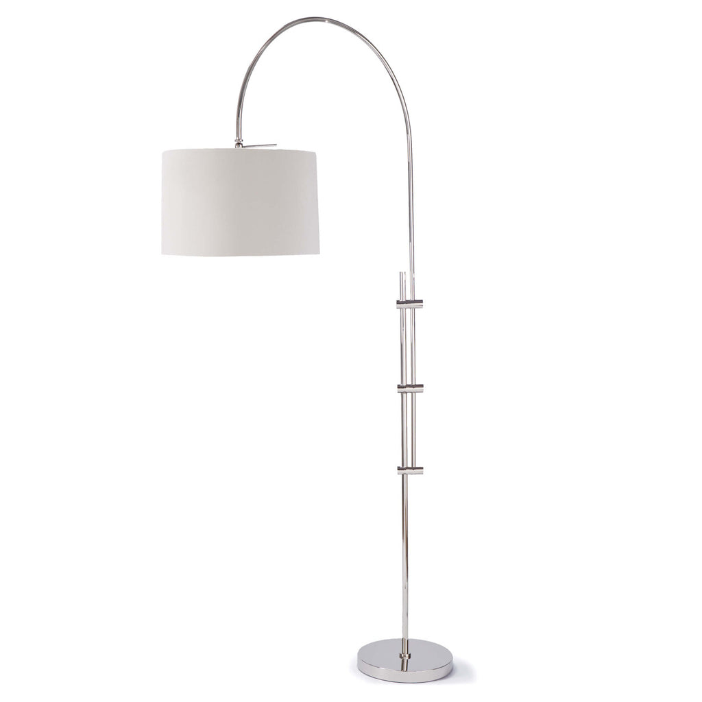 Arc Floor Lamp w/ Fabric Shade in Polished Nickel design by Regina Andrew
