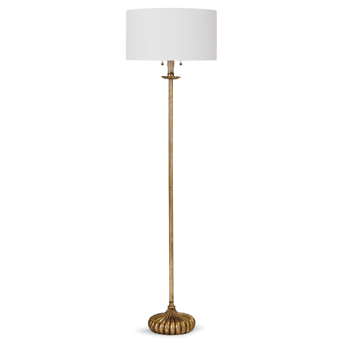 Clove Stem Floor Lamp in Antique Gold Leaf design by Regina Andrew